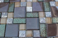 10 SHEET Brown Green Mosaic Tile Mesh Glass Stone Bathroom Kitchen Backsplash