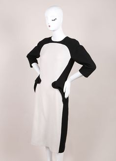 New With Tags Black and White Wool Peplum Dress
