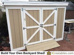 Completed Short Lean to backyard storage shed with overall height of less than 8 feet. Pallet Shed Plans, Shed Plans 8x10, Diy Shed Plans, Cabin Plans, Shed Cabin, Shed House Plans, Lean To Shed Plans, Backyard Storage Sheds, Storage Shed Plans