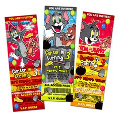 tom and jerry birthday invitation party ticket by mariagala44