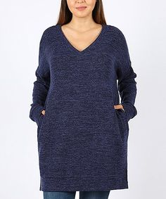 ef02f4ad84b Look what I found on  zulily! Navy V-Neck Sweater - Plus