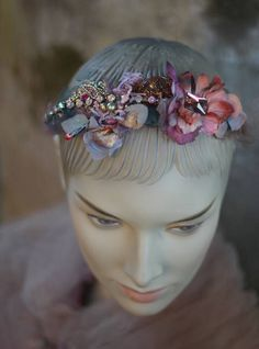 Muse headband, embroidered and beaded headband with vintage and antique textiles by FleursBoheme on Etsy https://www.etsy.com/au/listing/544420871/muse-headband-embroidered-and-beaded