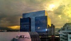 atardecer, edificio, sunset