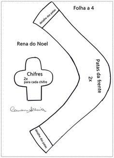 Feltro Fácil: Enfeite de Porta com Rena em Feltro 3; Christmas Reindeer Felt