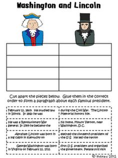 free presidential paragraph sort for Presidents' Day