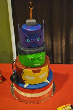 Birthdays Avengers Thor Hawkeye Hulk Iron Man Black Widow Caption America round tiered cake super heroes boy girl