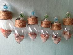 Beachy little Christmas Ornaments. Something  I make with all those lovely mini shells collected
