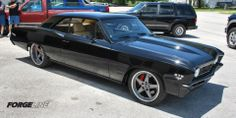 Bruce's '67 Chevelle, built by Go Pro Customs, features a 572ci big block, Tremec T-56 manual trans, Detroit Speed front & rear suspension, and Wilwood disc brakes. The full leather and suede interior was done by Complete Auto Upholstery. And the Forgeline SO3P wheels are finished with diamond-cut Gunmetal centers and Polished outers. See more at: http://www.forgeline.com/customer_gallery_view.php?cvk=1000  #Forgeline #SO3P #notjustanotherprettywheel #Chevy #Chevelle