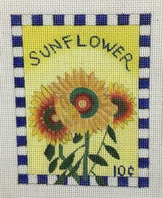 """Sunflower Seed Packet painted canvas by BB Needlepoint Designs Size: 3"""" x 5"""" Mesh Count: 18"""