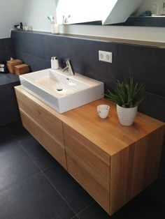 Solid oak washbasin with three drawer and one t .- Waschtisch aus Eiche massiv mit drei Schubkasten und einer Tür Solid oak washbasin with three drawers and a door - Bathroom Furniture, Home Furniture, Rustic Furniture, Outdoor Furniture, Contemporary Living Room Furniture, New Toilet, Mirror Cabinets, Farrow Ball, Bathroom Inspiration