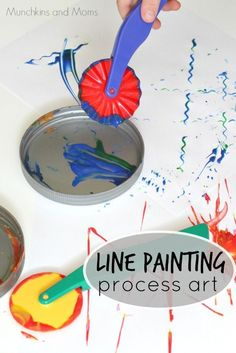 Arts activities 3 Line Painting Process Art- a great preschool art activity! Process Art Preschool, Preschool Painting, Preschool Art Projects, Preschool Art Activities, Creative Activities, Preschool Artist Theme, Art Projects For Toddlers, Art Activities For Toddlers, Work Activities