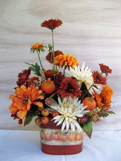 Fall Decor Floral Centerpiece Cream Orange Rust Florals Pumpkins Foliage Arrangement in Seasonal Oval Metal Planter Faux Silk Artificial Fall Flower Arrangements, Floral Centerpieces, Centerpiece Ideas, Fall Home Decor, Autumn Home, Fake Flowers, Beautiful Flowers, Artificial Flowers, Thanksgiving Decorations