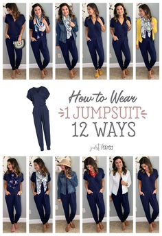 How to wear and style 1 jumpsuit 12 different ways! This jumpsuit is a favorite of mine and it. Navy Jumpsuit, Casual Jumpsuit, Jumpsuit Style, Black Jumpsuit Outfit Night, Dress Black, Mode Outfits, Casual Outfits, Fashion Outfits, Chambray Shirt Outfits