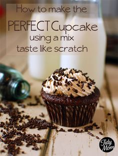 The Perfect Cupcake Recipe (using a mix) - http://www.pincookie.com/the-perfect-cupcake-recipe-using-a-mix/