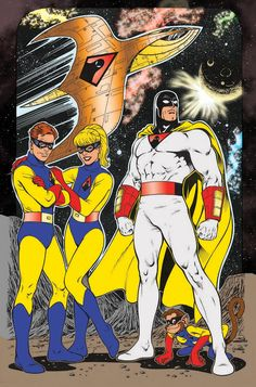 Space Ghost (and Jace, Jan, & Blip) by Scott Rosema ,Batmans sun star crusade Cartoon Cartoon, Cartoon Tv Shows, Vintage Cartoon, Cartoon Drawings, Vintage Toys, Old School Cartoons, Retro Cartoons, Classic Cartoons, Cool Cartoons