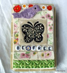 Be Free Bird and Butterfly Mixed Media by Lisabetzmosaicart, $24.00
