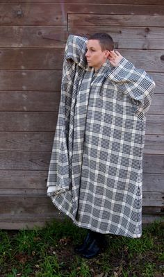 Reserved Plaid Cocoon Coat by TripleGemini on Etsy