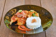 Grilled Chicken prepared in Balinese way with White Rice served by The Open House Bali Restaurant