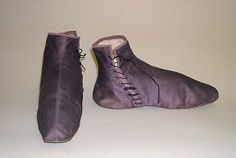 Silk Half Boots, 19th century, American or European. During the mid-Regency, tied shoes went out of fashion as lace-up half-boots became popular for outdoor wear. Met Museum.