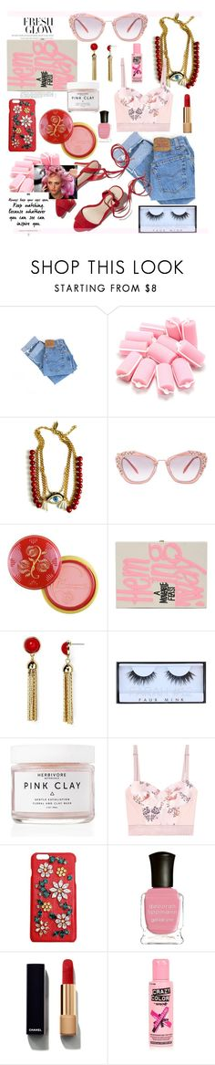 """Beauty school drop out xoxo"" by cutandpaste ❤ liked on Polyvore featuring Levi's, Patricia Nicolas, Miu Miu, Olympia Le-Tan, Aqua, Huda Beauty, Herbivore, Loeffler Randall, STELLA McCARTNEY and Dolce&Gabbana"
