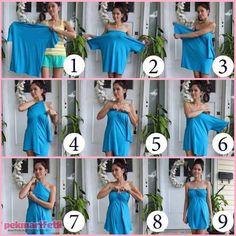 Tişörtten kolay ve şık elbise yapımı