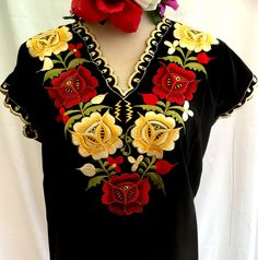 a257fb4e0fa06 Black Blouse Frida Kahlo Floral EMBROIDERED Mexico Hippie Boho Peasant All  Sizes Women s Ethnic by MariabonitaCreations on Etsy