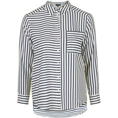 TopShop Petite Mix Stripe Blouse (130 DKK) ❤ liked on Polyvore featuring tops, blouses, button up shirts, collar blouse, button down shirts, button down collar shirts and button down blouse