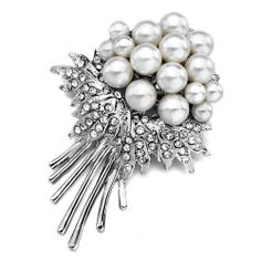 Pugster Wedding Flower Pearl Clear Swarovski Crystal Diamond Accent Brooches Pins Pugster. $12.79. One free elegant cushioned Gift box available with every order from Pugster.. Exquisitely detailed designer style with Swarovski cystal element.. Occasion: casual wear,anniversary, bridal, cocktail party, wedding. Can be pinned on your gown or fastened in your hair with bobby pins.. Money-back Satisfaction Guarantee.. Save 20%!