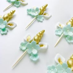 Teal and Gold Unicorn Horn and Ears cupcake topper set for baby shower or 1st birthday Unicorn themed party. #Unicorn #Unicornparty #Babyshower
