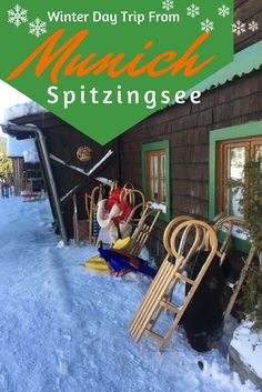 Plan the perfect winter day trip from Munich to go sledding at Spitzingsee. Sled down in a traditional toboggan. Sledding in Munich, Munich Winter Activities, Munich Day Trips.