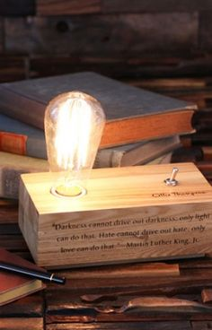 Edison Lamp Engraved Personalized Custom Handmade Wood Desk Lamp With Vintage Bulb Toggle Switch (024774)