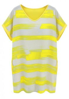 Yellow Patchwork Striped Short Sleeve Loose Chiffon Dress