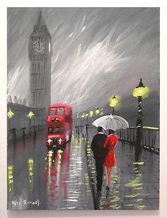 Pretty art painting idea in black, grey, white and a speck Landscape Drawings, Landscape Paintings, Art Drawings, Art Paintings, Landscape Art, London Rain, Rain Art, Umbrella Art, Walking In The Rain