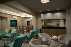 Projeto do escritório Atelier da Reforma. Apartamento Thera Berrini. Vista da sala de estar e do café da amanhã.