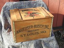 Anheuser Busch vintage BUDWEISER BEER Centennial 1876-1976 wooden WOOD CRATE BOX