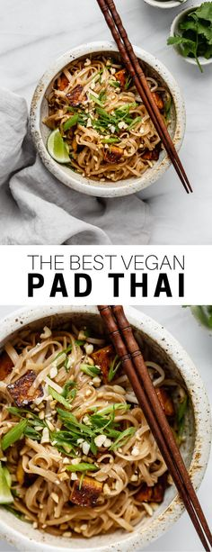 This vegan pad thai recipe is healthy and easy to make! you ll love this noodle dish with tofu peanuts and the most delicious pad thai sauce! padthai veganrecipe tofu noodles easy recipes pad thai vegan 16 quick easy recipes you can make in your dorm room Vegan Dinners, Healthy Dinner Recipes, Whole Food Recipes, Healthy Dishes, Easy Vegan Dishes, Yummy Vegan Recipes, Vegan Foods, Paleo Diet, Vegetarian Recipes