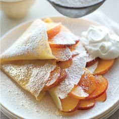 Peaches and Cream Crepes. Julia Child's crepe recipe