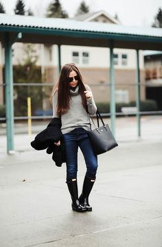 We're going through a gray spell in Seattle right now, whenever the weather gets like this I feel like I just sort of naturally dress a little moodier. Winter Outfits, Casual Outfits, Cute Outfits, Fashion Outfits, Womens Fashion, Fashion Ideas, Outfit 2017, Rainy Day Outfit For Work, Black Wool Coat