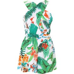 Hawaiian Print Crossover Playsuit ($14) ❤ liked on Polyvore featuring jumpsuits, rompers, playsuit romper, green romper, surplice romper and green rompers