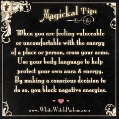 witch, protection, spell, book of shadows, magick, occult, metaphysical, energy, psychic, tarot, ritual, white witch, aura, vulnerable, weak, body language, negative , how to block negative energies   ✯ Visit lifespiritssocietyofmagick.com for love spells, wealth spells, healing spells, and LOA info.