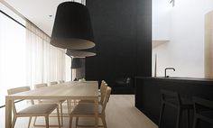 :: KITCHENS :: INTERIORS :: bold black combined with a light wood kitchen