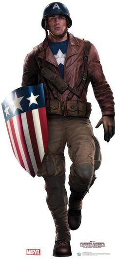 """The Evolution of Captain America's Uniform Captain America's transition from comic to screen uniquely parallels Steve Rogers' own journey to becoming the """"greatest soldier in history. Captain America Cosplay, Captain America Film, Captain America Jacket, Chris Evans Captain America, Marvel Dc, Marvel Heroes, Captain Marvel, Steve Rogers, Thor"""