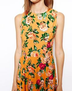 $73 ASOS Midi Dress in Pretty Rose Print