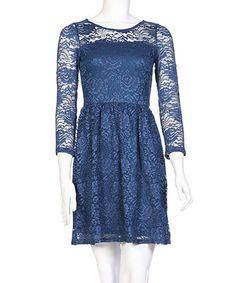 Another great find on #zulily! Navy Lace Overlay Long-Sleeve Dress by brandon & ashley #zulilyfinds