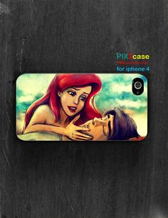 iPhone 4S case, Ariel, little mermaid, love, disney iphone case, cartoon iphone case, silicone case, iPhone 4S Cover, case for iPhone