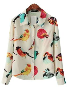 Bird Button-up Chiffon Shirt - OASAP.com