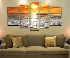 3 Panel Sunset Sea Art Work Decorative Wall Clock Living Room