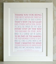 Thank You For Being My Bridesmaid by AngelGiftCompany on Etsy, £10.00 or www.facebook.com/angelgiftcompany
