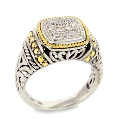 Diamond Sterling Silver Ring with 18K Gold Accents   Cirque Jewels
