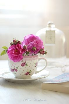 Teacup with Two Hot Pink Flowers from Pink Rose Cottage